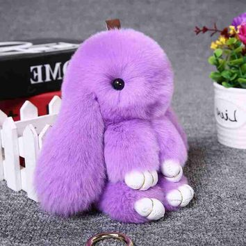Cute 18cm Rabbit Keychain Fur Pom Pom Women Rabbit Key Chain Toy Doll Bag Car Key Ring Monster Gift 2017