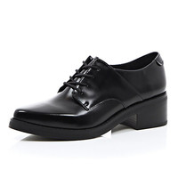 River Island Womens Black leather smart lace up shoes