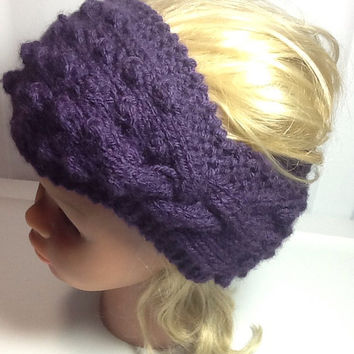 Knitted Hairband - ear warmer - unique headband - popcorn knit - cable knit - purple - stocking stuffer  - acrylic band