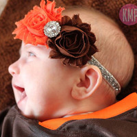 Cleveland Browns Inspired Headband on Glitter Elastic- Any Size