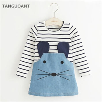 Cute Mouse Girls Dress Denim