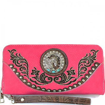 Western Horsehead Cancho Wristlet Wallet