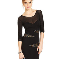 Material Girl Juniors Dress, Long-Sleeve Studded Mesh Sweater Dress - Juniors Dresses - Macy's