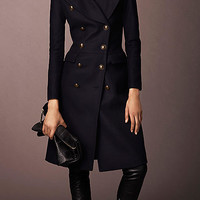 Wool Blend Fitted Military Coat