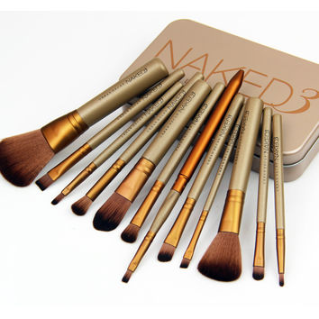 12pcs/set NAKED3 Power brush URBAN makeup brushes nake 3 Professional make up brush kit  beauty eye face tool Metal box