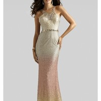 Clarisse Couture 2014 Gold Ombre Beaded Sequin Halter Long Prom Gown 4316 | Promgirl.net
