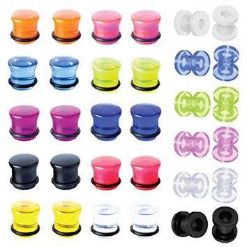 BodyJ4You Plugs Kit Gauges Tunnels Acrylic Silicone Ear Stretching Double Flare Screw Fit 00G Set 32 Pieces