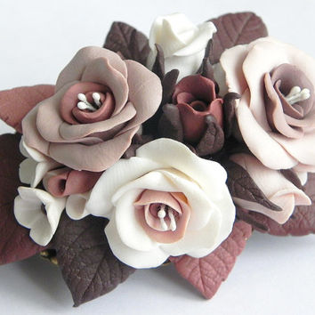 Floral Hair barrette (different options) Polymer clay jewelry Flower jewelry Handmade hair accessory Polyme clay rose barrette