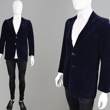 Vintage 70s Dinner Jacket Mens Velvet Blazer Blue Smoking Jacket Peaked Lapels Tailored Jacket Slim Fit Blazer Preppy Velvet Coat 1970s