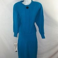 VINTAGE 80s DARIAN BLUE SWEATER DRESS