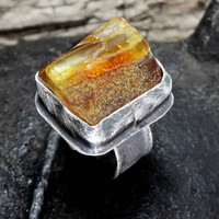 SALE 10 - 30%  OFF- use coupon code>  Raw amber ring, solid ring, massive ring, sterling silver, boho, rustic, raw, rough baltic amber