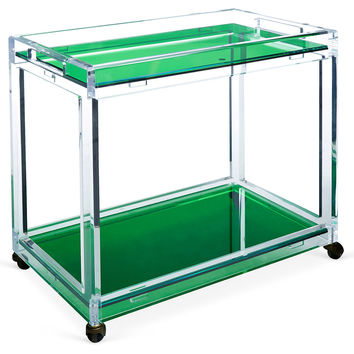 Timothy Whealon Bar Cart, Emerald/Clear, Acrylic / Lucite, Bar Carts