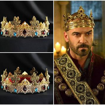Gold Baroque Male Dolce Beaded Red Blue Leaves Crown Cosplay