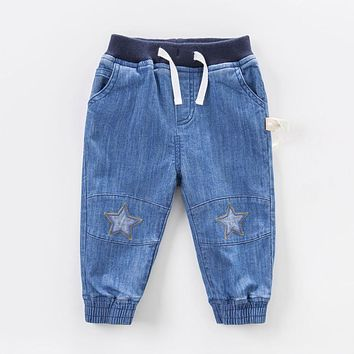 2018 Spring Kids Clothes Cotton Stars Causal Children Baby Boys Jeans Toddler Boy Denim Pants Trousers Patchwork Elastic Jeans