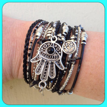 Boho Chic Leather Hamsa Wrap Bracelet with Silver and Black Accents, Kabbalah Jewelry, Evil Eye Jewelry
