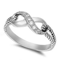 7MM ITALIAN Sterling Silver Polished CELTIC INFINITY KNOT RING Ring Size 5-11 (Also Half Ring Sizes- 6.5, 7.5, 8.5, 9.5)