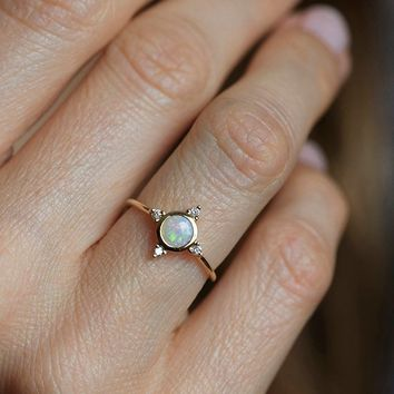 Opal Engagement Ring, Wedding Ring, 14k Gold Ring, Diamond Ring, 18k Gold Ring, Opal Jewelry, Australian Opal Ring, Opal And Diamond Ring