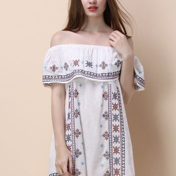 Folksy Cross-stitch Off-shoulder Dress in White
