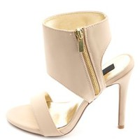 Single Strap Ankle Cuff Heels by Charlotte Russe - Nude