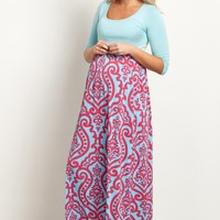 Aqua-Damask-Bottom-Maternity-Maxi-Dress
