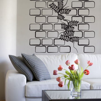 Vinyl Wall Decal Sticker Plant Through Brick Wall #OS_DC794