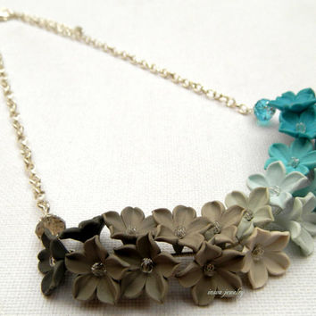 Turquoise jewelry - Ombre jewelry - Floral necklace - Spring jewelry - Handmade polymer necklace
