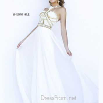 T-Style Halter Strap Formal Prom Gown By Sherri Hill 9739