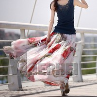 Summer Bohemian White Red Floral Print Chiffon Maxi Skirt. Long Skirt
