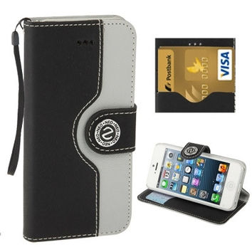 2-color Series  Mouse Texture Flip Leather Case with Credit Card Slots & Lanyard & Holder for iPhone 5 & 5s & SE & SE