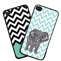 Generic Chevron Wave Print Elephant Hard Case Back Cover Case for Apple iPhone 5c - Non-Retail Packaging - Multi