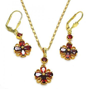 Gold Layered 10.283.0015 Necklace and Earring, Flower Design, with Garnet Cubic Zirconia, Polished Finish, Golden Tone