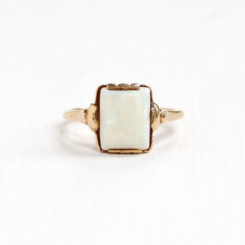 Antique Art Deco 10k Yellow Gold Opal Ring -  Vintage 1930s Size 6 1/4 Colorful White Fiery Rectangular Gemstone Fine Statement Jewelry