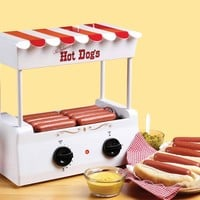 Nostalgia HDR565 Vintage Collection Hot Dog Roller with Bun Warmer