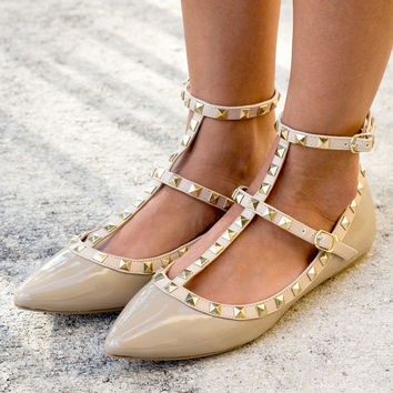 Nude Studded Strappy Flats