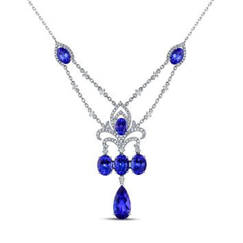 Alluring White Gold 9.87ct Tanzanite & 0.91ct  Diamond Necklace