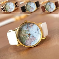 Fashion Leather Band World Map Design Analog Students Casual Quartz Wrist Watch