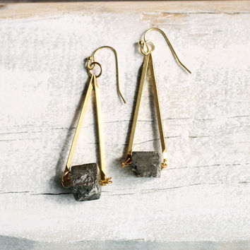 Gold Geometric Earrings ...  Gold Nugget Pyrite Gems with Antique Gold