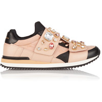 Dolce & Gabbana - Embellished leather and canvas sneakers