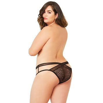 Sexy Vandal Lace and Mesh Open Crotch Criss-Cross Plus Size Panty