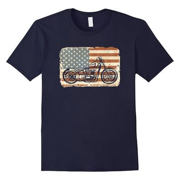 Motorcycle American Flag patriotic vintage July 4th shirt