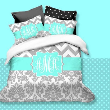 Custom Chevron Monogrammed Duvet cover Set-Personalized Monogram-Twin, Full,Queen, King