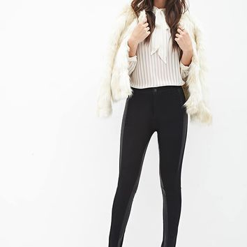 Contemporary Faux Leather-Paneled Jeans