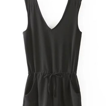 V-Neck Sleeveless Drawstring Chiffon Romper