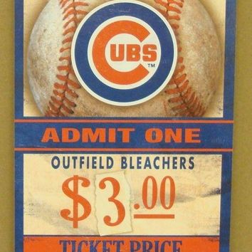 "CHICAGO CUBS GAME TICKET ADMIT ONE GO CUBS WOOD SIGN 6""X12'' NEW WINCRAFT"