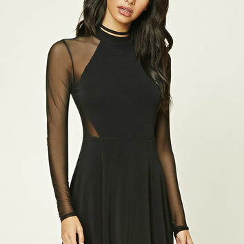 Mesh-Paneled Flared Dress