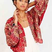 Band Of Gypsies Balloon-Sleeve Cardigan- Red Multi