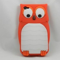 eFuture(TM) Orange owl design Silicone Soft Case Cover fit for the new Iphone4 4s +eFuture's nice K