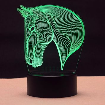 7 Color Horse Head Lamp 3D Visual Led Night Lights for Kids Touch USB Table Lampara Lampe Baby Sleeping Nightlight