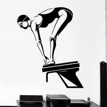 Wall Sticker Sport Swim Swimming Female Swimmer Dive Platform Unique Gift (z2984)