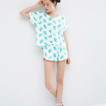 ASOS All Over Cactus Tee & Short Pyjama Set at asos.com